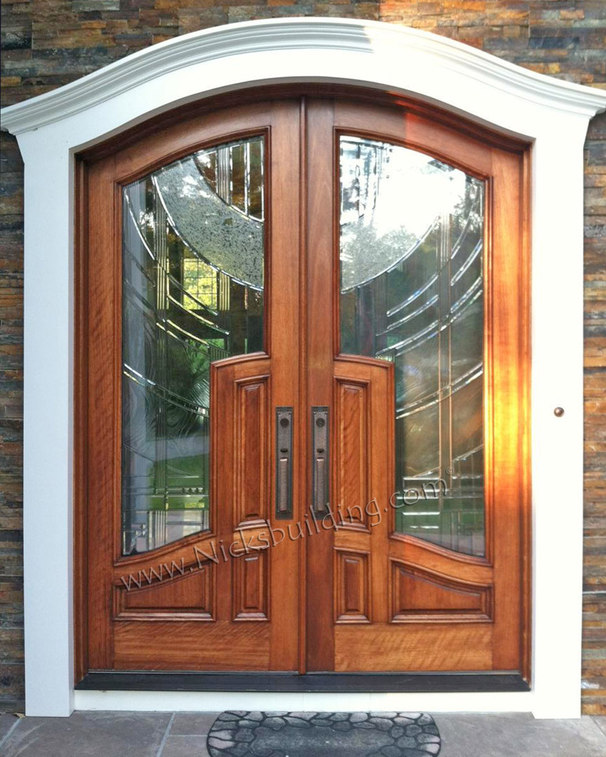 Wood doors exterior doors mahogany doors entry doors for Double wood doors with glass