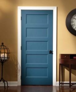 BLUE PAINTED 5 PANEL MAHOGANY INTERIOR SHAKER DOOR FIVE PANEL IN HAWAII