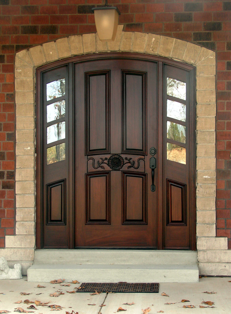 Luxury model home stained glass front door stock photo - Round Top Doors Arched Top Doors Radius Doors For Sale